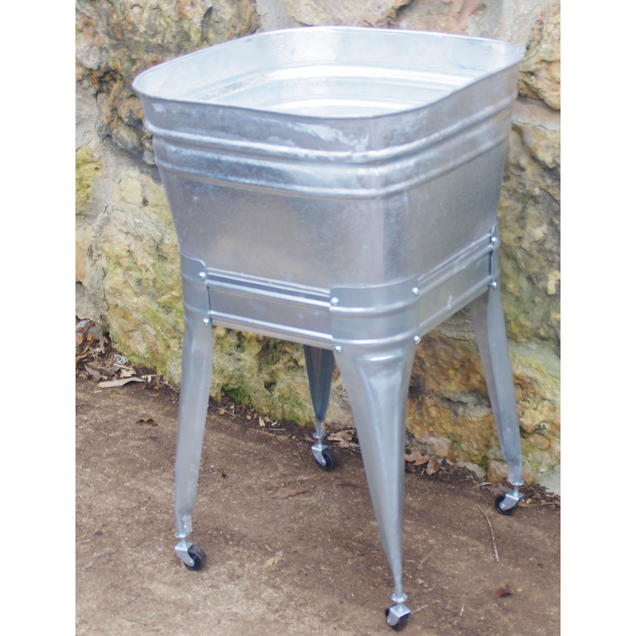 Square wash tub with stand single or double wisemen for Galvanized tub kitchen sink