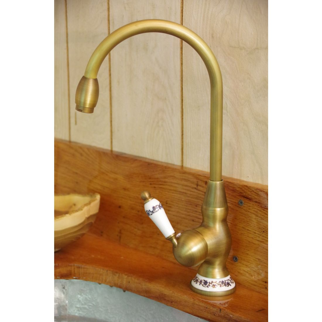 Ceramic Handle Antique Brass Faucet Arch Type Wisemen Trading And Supply